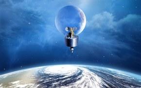 地球, 卫星, 天空, 飞机