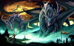 Art, Dragons, girl, magic, lake, Giant
