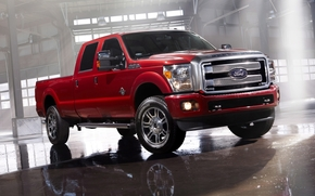 ford, Super Duty, Platinum, Crew cab, pickup, jeep, front, red, hangar, light, reflection, ford