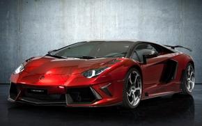 Lamborghini, aventador, Supercar, front, tyuntng, czerwony, ciana, Lamborghini