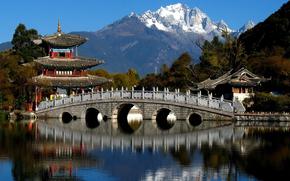 Китай, горы, деревья, пагода, мост, река