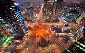Ciudad, Sel, Corea del Sur, Corea, noche, luces, exposicin