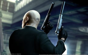 hitman, forty-seventh, bar code, bald, gloves, coat, back of the head, Guns, weapon, Silencers