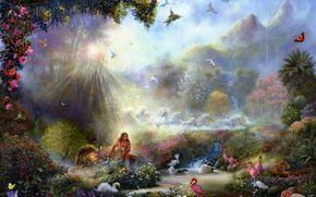 paradiso, Uccelli, fenicottero, Swans, Aironi, Lions, pavone, Cavalli, Farfalle, leopardo, paesaggio, foresta, natura, Arte, fiori