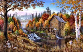 пейзаж, осень, река, деревья, водяная мельница, олени, арт, природа