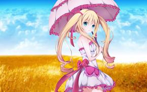 девушка, милая, зонтик, платье, небо, поле