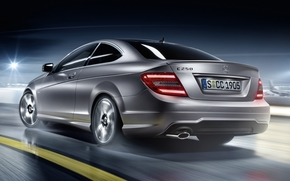 Mercedes, scomparto, vista posteriore, serebrisy, notte, Mercedes