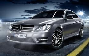 Mercedes, scomparto, anteriore, serebrisy, notte