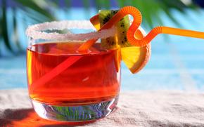 fluid, drink, glass, glass, tubule, kiwi, orange, sand, macro, resort, sea, summer, coast, Palms
