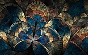 Fractal Pattern, abstraction, curves, brightness, Mosaic