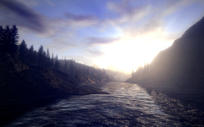 Alan Wake, Lake Koldron, Mountains, forest, water, sky, sun, dlerevya