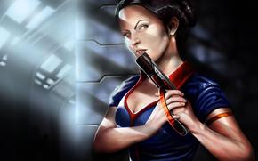dziewczyna, pistolet, Wojownik