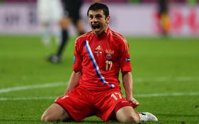 алан дзагоев, футболист, россия, гол, радость, евро 2012