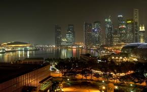 evening, lights, road, Street, Singapore