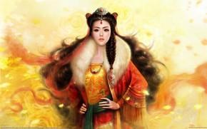 арт, девушка, азиатка, коса, волосы, украшения
