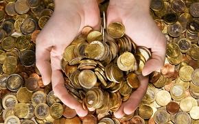евро, монеты, руки