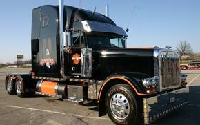 грузовик, американский, черный, хром, автомобили, машины, авто