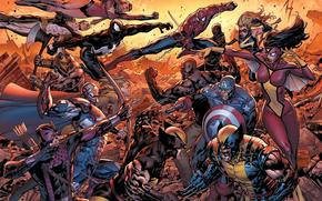 New Avengers, Spiderman, ghiottone, Luke Cage, Captain America, Spider Woman
