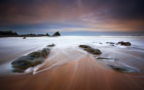 sky, sea, ocean, water, beach, foam, stones, exposure, ekspozishn