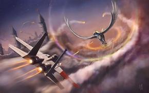 Art, plane, fighter, Pegasus, horse, wings, in the sky, shots, city, battle