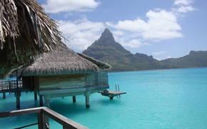 Bora Bora, bungalow, azzurro, mare