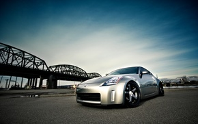 Nissan, silver, front end, bridge, sky, nissan