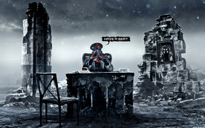 Romance of the apocalypse, Art, Capt., ruins, table, chair, portrait, mask
