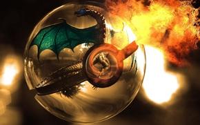 арт, шар, сфера, дракон, огонь