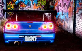 ниссан, скайлайн, синий, фары, граффити, Nissan