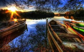 natura, paesaggio, lago, barca, cielo, nuvole, chiamare, raggi, alberi