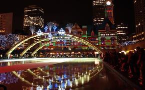 citt, ponte, luminoso, edificio, notte