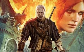 Wiedmin, Geralt z Rivii, Triss Merigold, smok, ogie, miecz, zamek, blizna, widok, Medalion