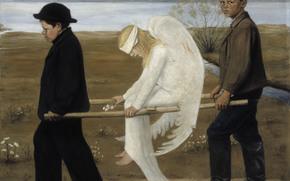 immagine, angelo ferito, ali, pittura
