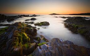 rocks, stones, sea, sky