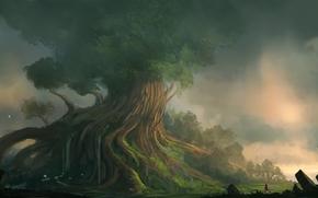 арт, пейзаж, дерево, гигантское, девушка, рыжая, водопад