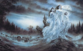 Art, Vampires, cemetery, moon, blood, Girls, night