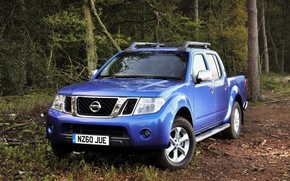 Nissan, Navara, pickup, Car, SUV, forest, road, wallpaper, machine, blue, nissan