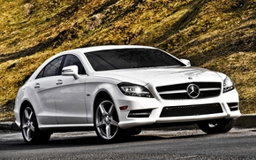 Mercedes, CLS, AMG, white, front, hill, mercedes
