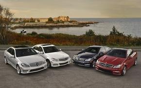 Mercedes, Classe C, gamma, acqua, baia, casa, cielo, orizzonte, Mercedes