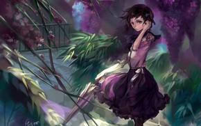 арт, девушка, сад, зонт, зонтик, ветер, цветы