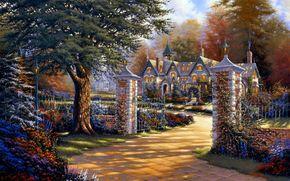 home, gate, fence, tree, Flowers, Art