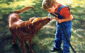 ragazzo, cane, tubo flessibile, Arte
