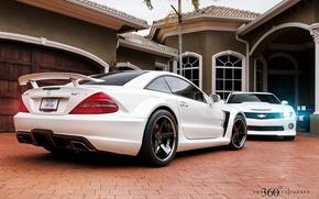 Mercedes-Benz, sl65, amg, e, Chevrolet, Camaro, ss, Mercedes, sl65, AMG, Chevrolet, Camaro, SS, bianco, muscle car, muscle car, casa, 360, auto, macchinario, Auto
