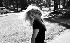 взрыв, волосы, черно-белое, движение