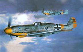 рисунок, самолет, мессершмитт, командир эскадры, люфтваффе, немцы, вторая мировая