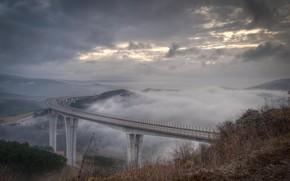 bridge, fog, slope, hill, clouds