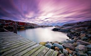 天空, 云, 海湾, 桥, 石头, 家