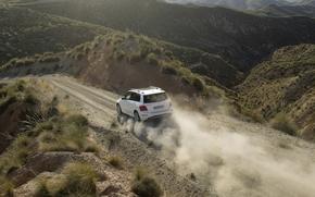 奔驰, HCA, 交叉, 吉普车, 白, 后视图, 道路, 灰尘, 丘陵, Mercedes