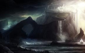 замок, город, тучи, арт, пейзаж, скалы, свет, мрачность, парусник, корабль