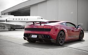 ламборджини, ламборгини, галлардо, суперлегера, красная, самолёт, ангар, Lamborghini